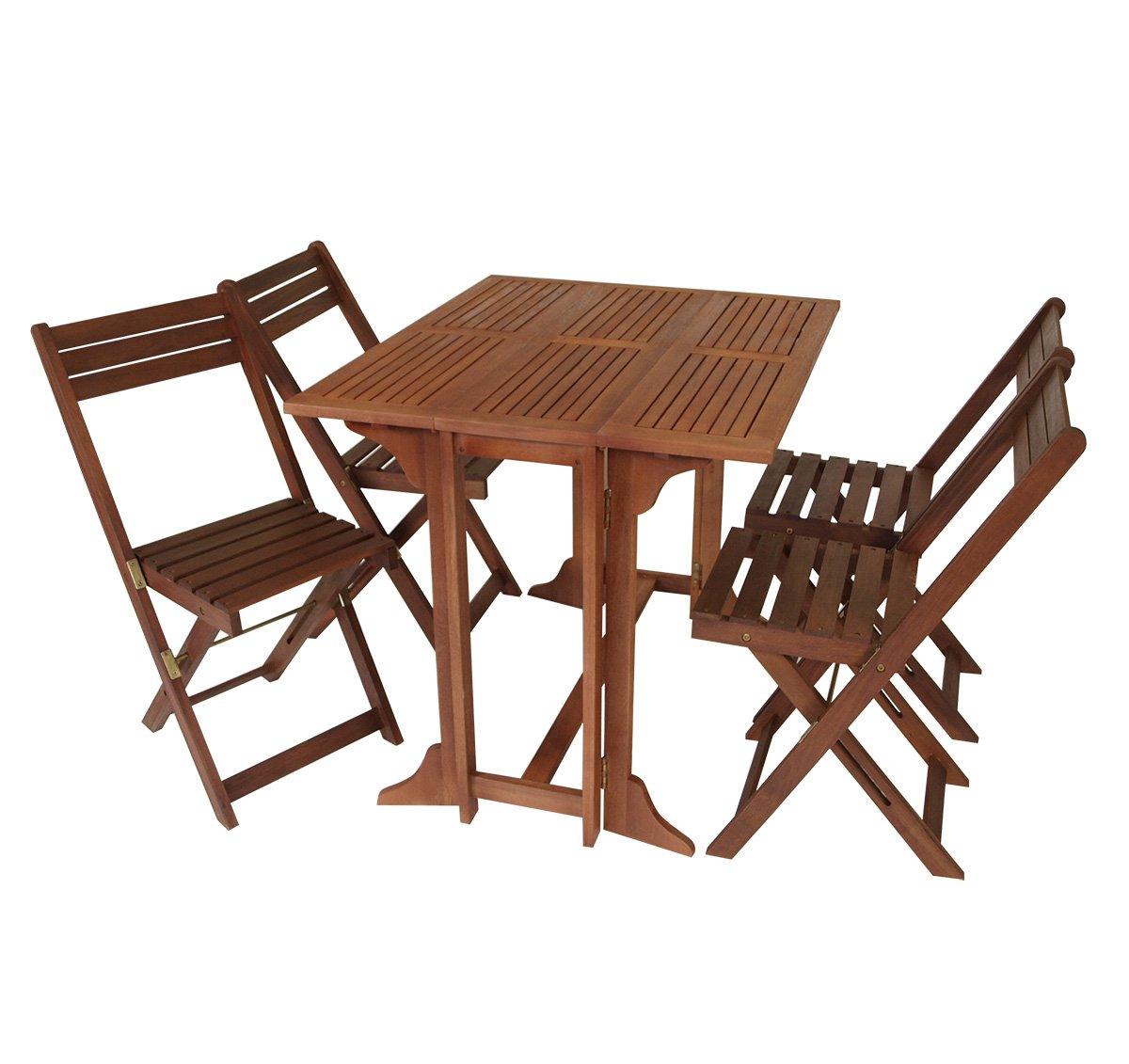 sitzgruppe 4 st hle 1 tisch gartenm bel holz gartentisch doppelklapptisch sitzgarnitur fsc neu. Black Bedroom Furniture Sets. Home Design Ideas