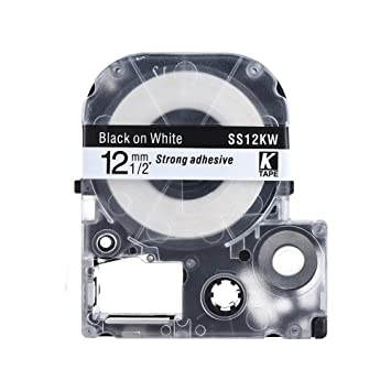 Consumibles Negro En Cinta Blanca 12mm * 8m Compatible con La ...