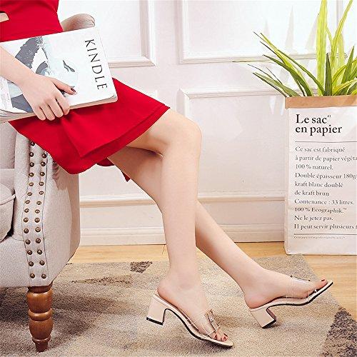 Heeled Beige for Toe BY0NE On Crude Dress Slipper Shoes Summer Casual Women Sandal Slip Design Open Slide Axf1Eqnwf