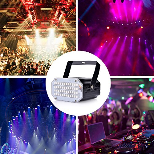 Strobe Light with Remote JLPOW Sound Activated Halloween Mini Strobe Lights Super Bright 48 RGB LED Remote Control Flash Stage Lighting Best for DJ Party Show Club Disco Karaoke