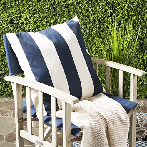 Safavieh Pillows Collection Sally Decorative Pillow, 22-Inch, Navy Blue, Set of - Awning Stripe Bedding