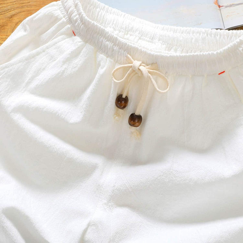 2019 Summer New Cotton Shorts Loose Mens Casual Shorts Men Plus Size 4XL 5XL,White,XXL