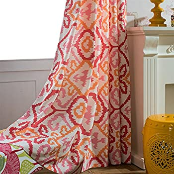Amazon.com: Anady Top Red Pink Orange Curtains Geometry Drapes 2 ...