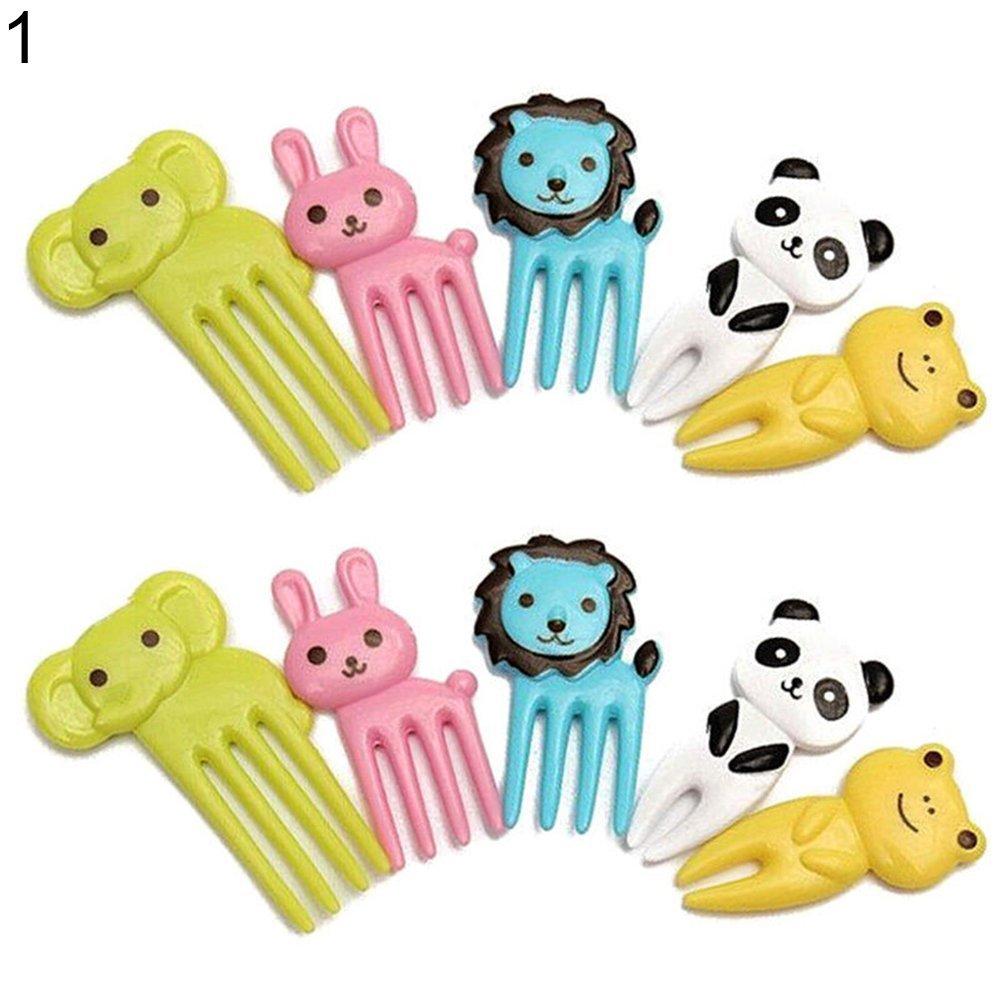 wintefei Useful Daily Home Tools 10 Pcs Kid Child Cartoon Animal Food Fruit Pick Fork Bento Lunch B