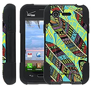 [ManiaGear] Rugged Armor-Stand Design Image Protect Case (Aztec Left) for LG Optimus Zone 2 VS415P / LG Fuel L34C