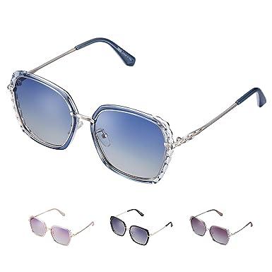 rezi Gafas de Sol Mujer Polarizadas, Gafas de Sol Hombres y Mujeres Retro Vintage, Lente de nylon 100% protección UVA/UV 400, Marco Metal