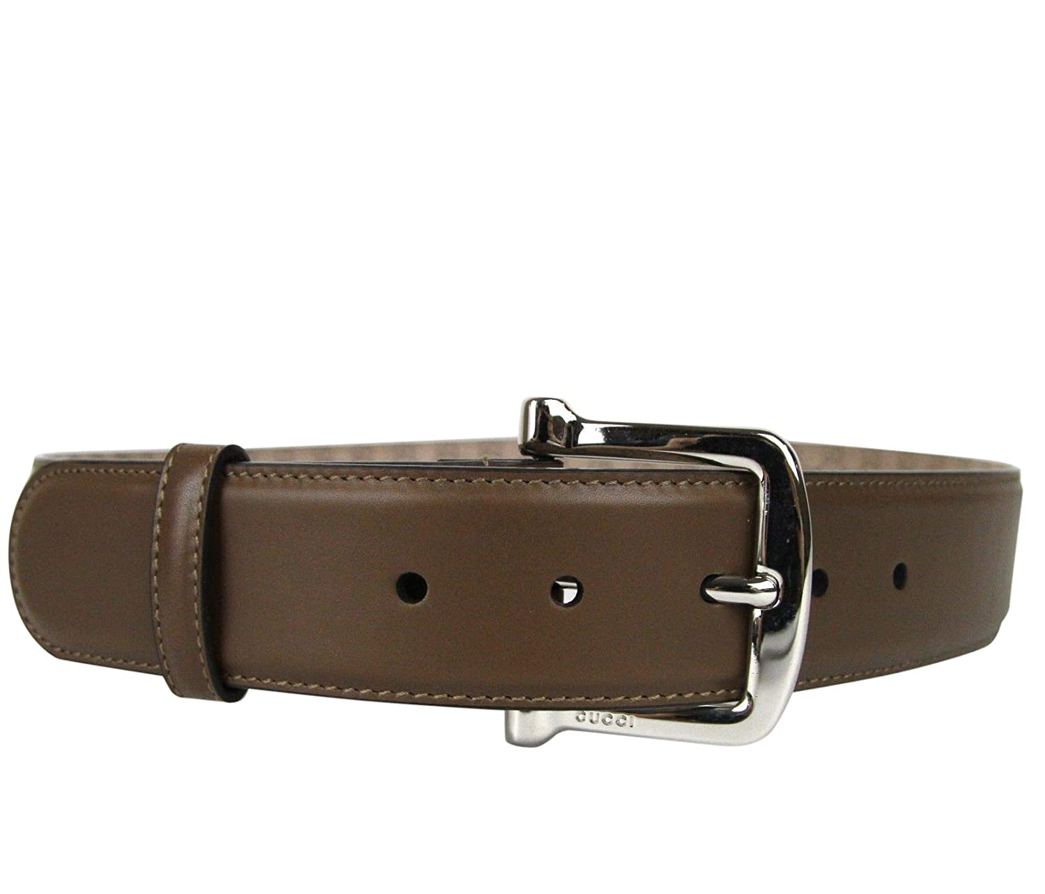 1a8c8eeca Amazon.com: Gucci Women's Silver Buckle Brown Leather Belt 281548 2527 (80/ 32): Clothing