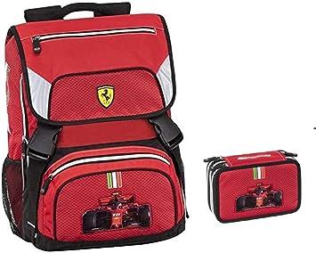Mochila escolar Ferrari Kids extensible 2020 + estuche de 3 pisos completo + llavero silbato + 10 bolígrafos con purpurina: Amazon.es: Equipaje