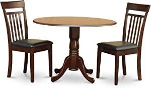 DLCA3-MAH-LC 3 PC Kitchen nook Dining set-drop leaf Table and 2 Dining Chairs