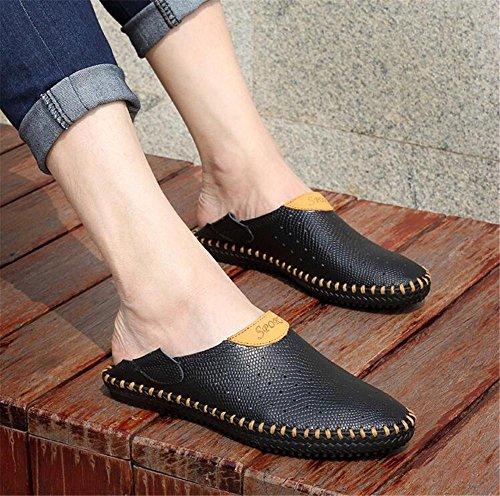 43 eu39 Cuero Verano Hombre Negro de Transpirables on Pull NSLXIE Tamaño Suelas Toe de Slipper Zapatos Suaves Antideslizantes Diapositivas Cerrado Sandalias Genuino 38 Playa a de Black EU40 XzEpgwq