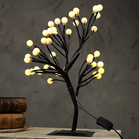 MUNAN 15.8 Inch LED Cherry Blossom Ball Tree Branches Light Table Lamp  Night Light Decoration For