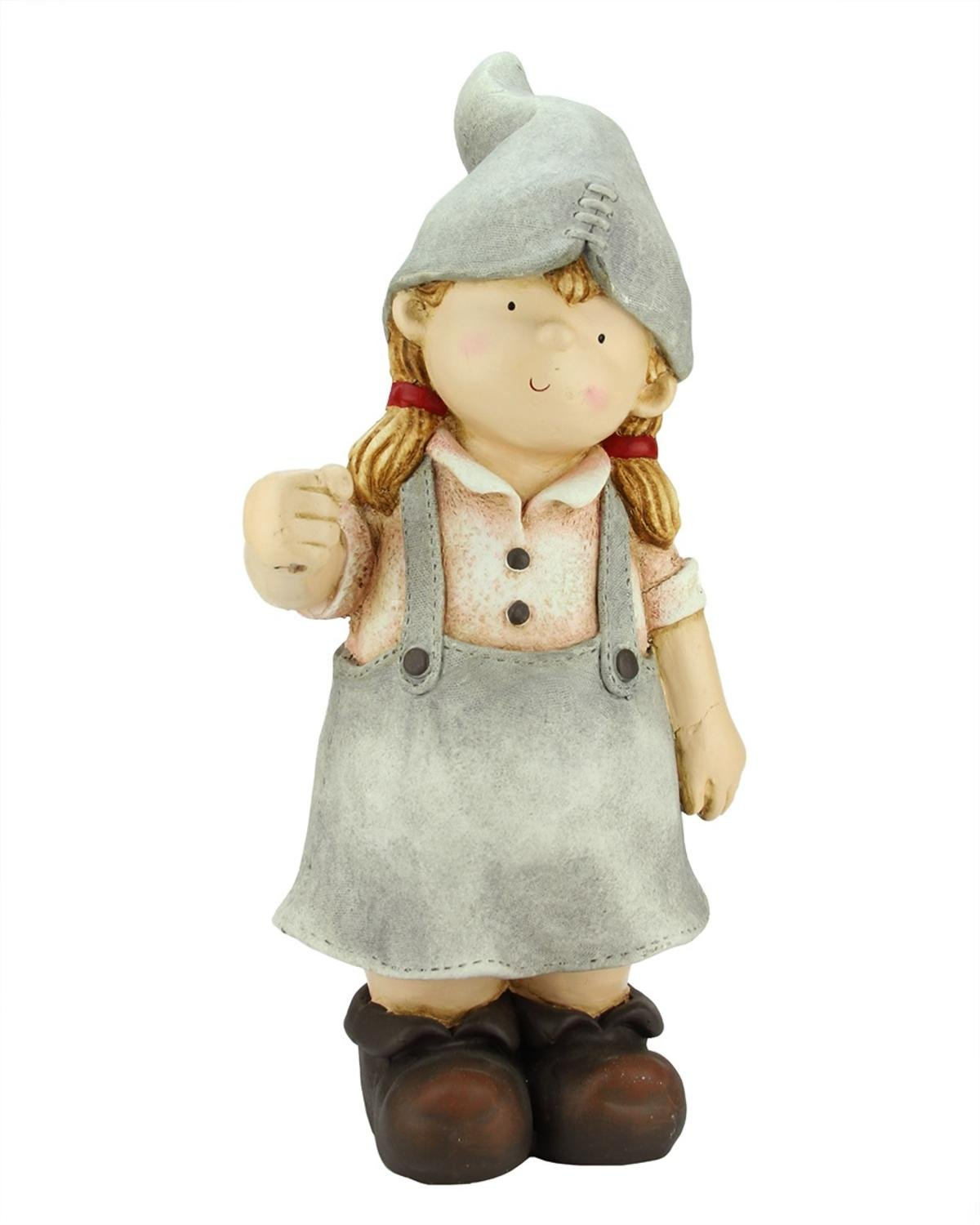 Northlight CB64950 Standing Young Girl Gnome Outdoor Patio Garden Statue Statuary and Fountains, 21.25'', Gray