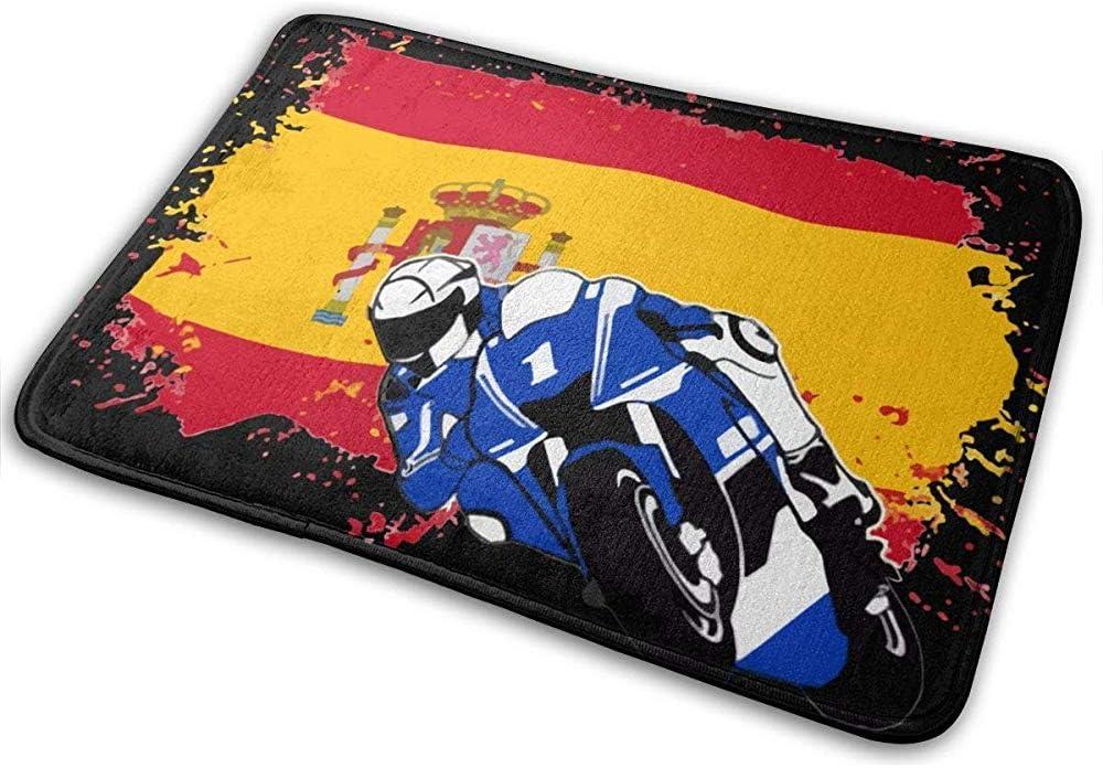 Felpudo,Bandera de España Entrada de Superbike Alfombra de puerta delantera,antideslizante Alfombra de bienvenida Alfombras de baño Alfombra Interior/Baño/Cocina/Dormitorio Alfombrilla 50X80CM: Amazon.es: Hogar