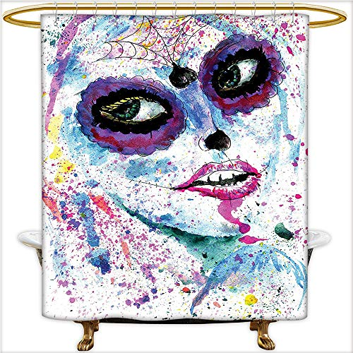 Waterproof Polyester Bathroom Curtain Grunge Halloween Lady with Sugar Skull Make Up Creepy Dead Face Gothic Woman Artsy Print Blue Purple. Mildew resistant,Machine Washable.W36 x H84 Inch -