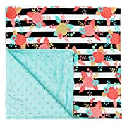 JLIKA Baby Blanket for Girls Swaddle Newborn Receiving Blankets - Aqua Floral (30 x30 )