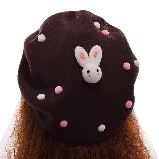 834afa6c4598f GRACEART Women s Handmade Lolita Beret with Peals and Rabbit (Brown ...