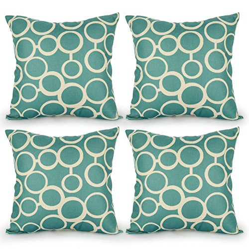 Top Finel Durable Cotton Linen Square Decorative Throw Pillows Cushion Covers Pillowcases For Sofa 18 x18 inch Set of 4-bubble