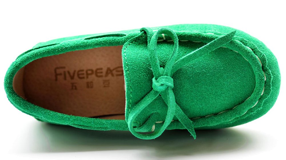 VECJUNIA Girls Soft Suede Bow Dress Loafers Indoor Slippers Oxford Moccasins Green 13 M US Little Kid by VECJUNIA (Image #3)