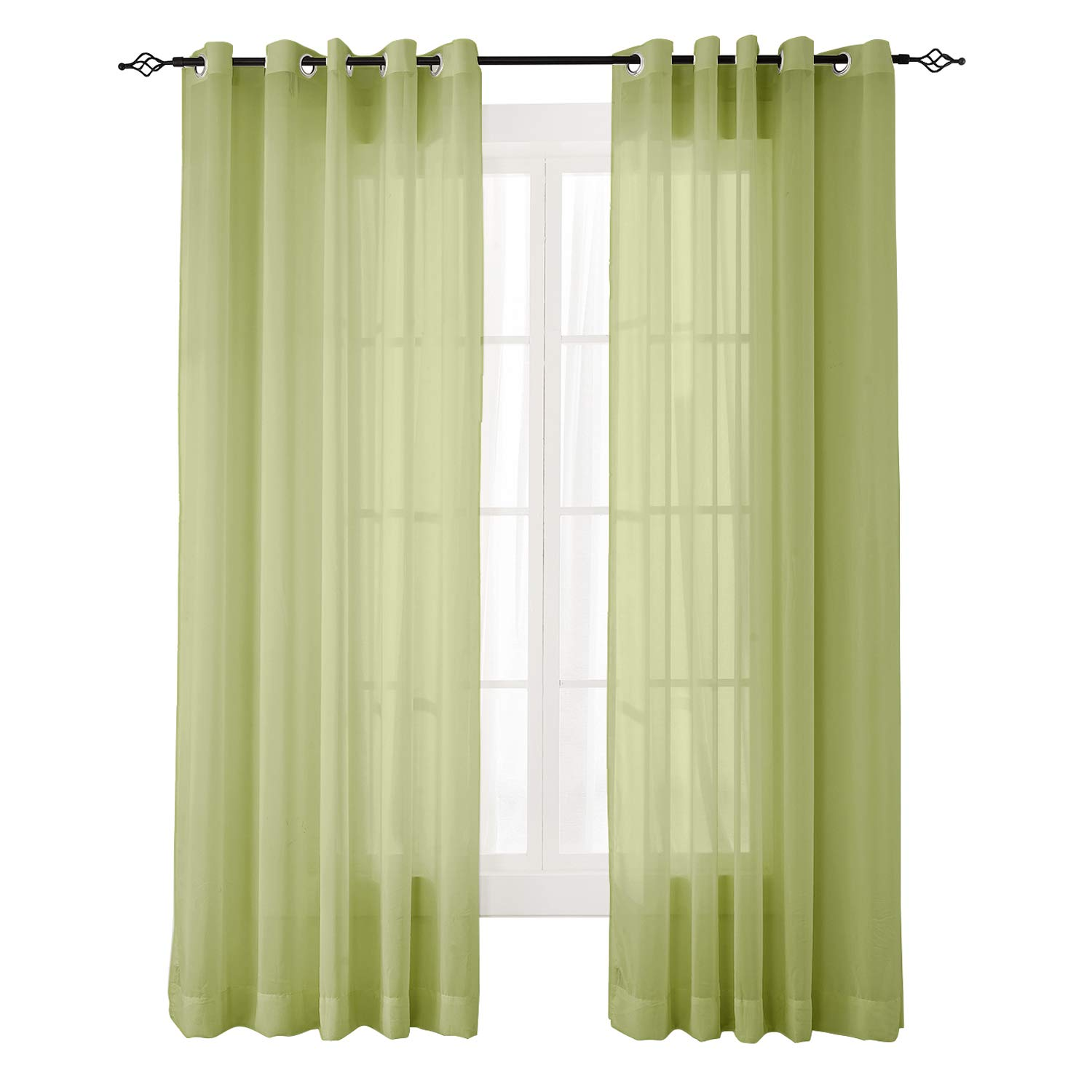 "ChadMade Indoor Outdoor Solid Sheer Curtain Nickel Grommet Moss 52"" W X 84"" L Wide Opulent Voile Drapes (1 Panel)"