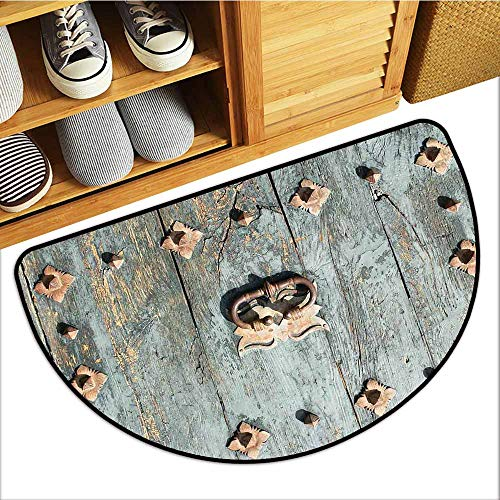 TableCovers&Home Low-Profile Mat, Rustic Doormats for High Traffic Areas, European Cathedral with Rusty Old Door Knocker Gothic Medieval Times Spanish Style (Turquoise, H16 x D24 Semicircle)