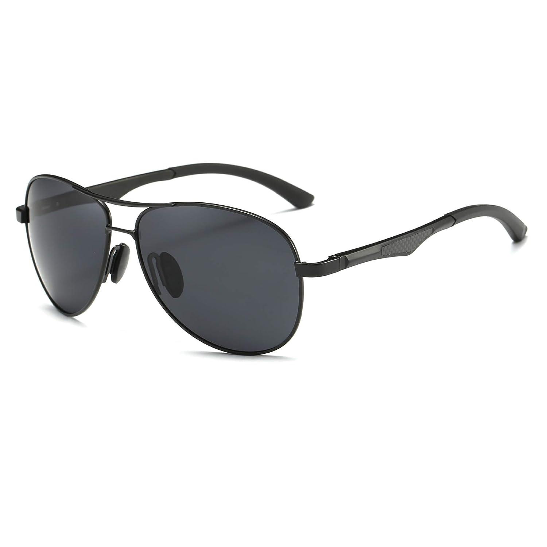 e2f2d2d9a334 Shushu Jacob Men's Polarized Sunglasses UV400 Protection Vintage Aviator  Black Lens Black Frame at Amazon Men's Clothing store