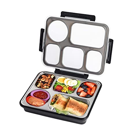 ff216dbbba8e Bento Box 5 Compartments Stainless Steel Large Lunch Box Containers,  Leak-proof Divided Lunch Containers for Adults, School, Work, BPA Free  (Black, 5 ...