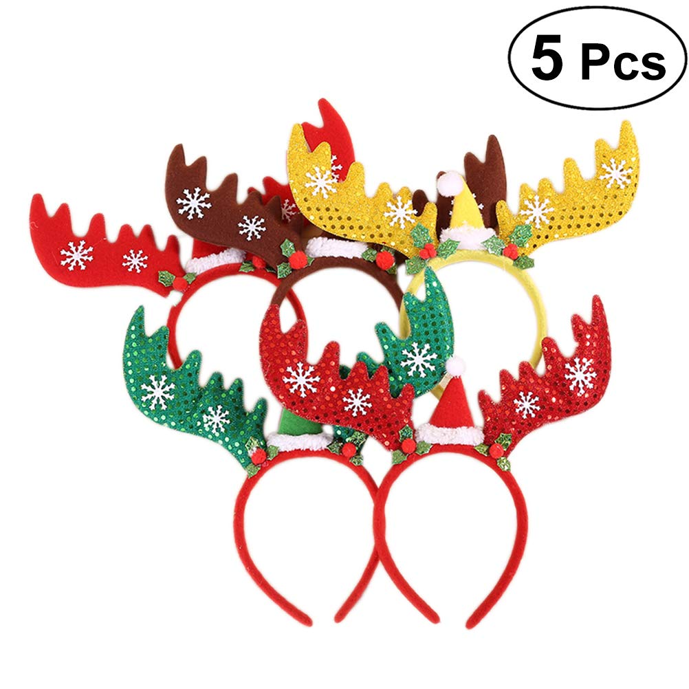 Frcolor 5PCS Christmas Headbands cervo renna di fasce per capelli travestimento party Headwear Hair Hoop