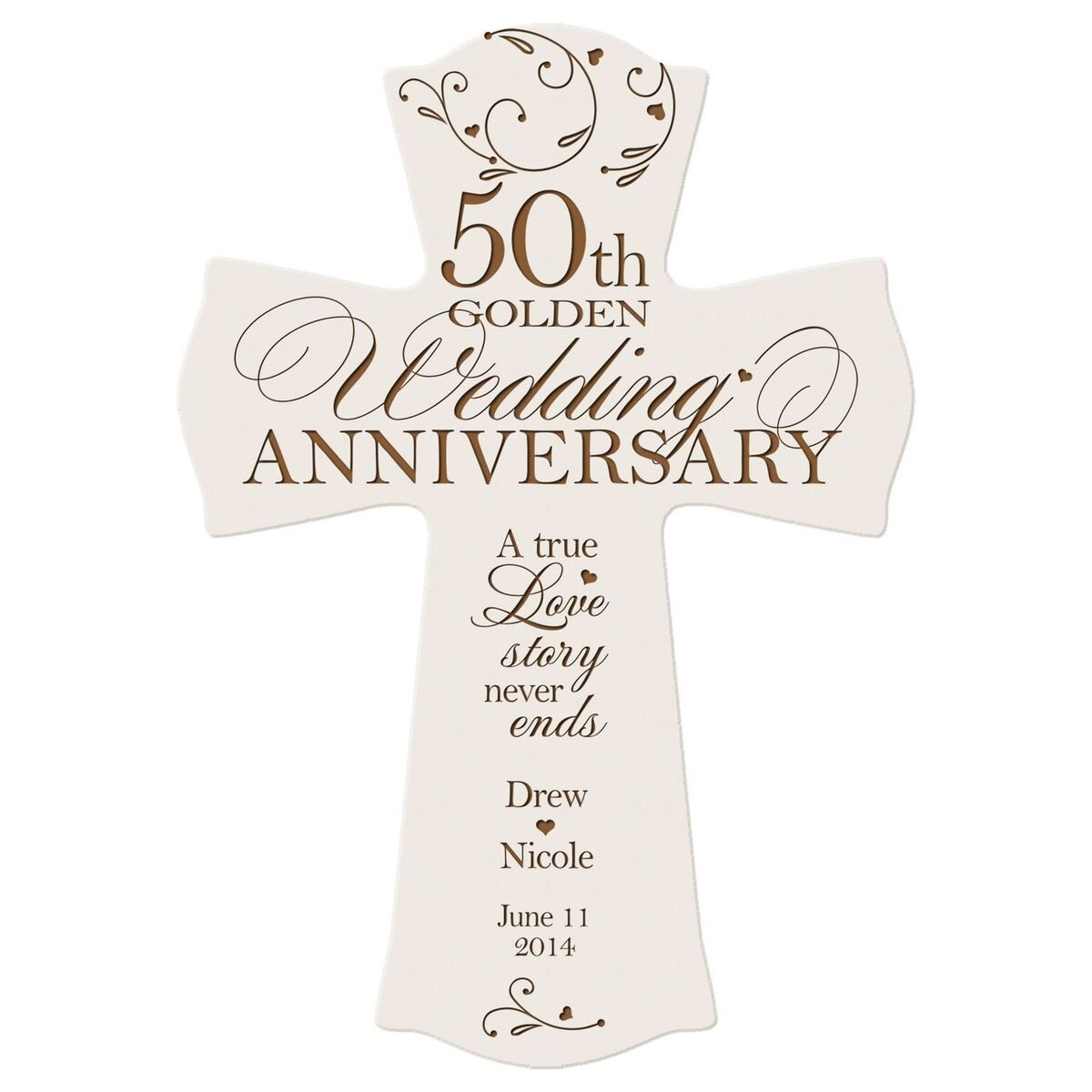 Personalized 50th Wedding Anniversary Wood Wall Cross Gift for Couple 50 Year for Her, for Him A True Love Story Never Ends (8.5'' x 11'') (White) by LifeSong Milestones