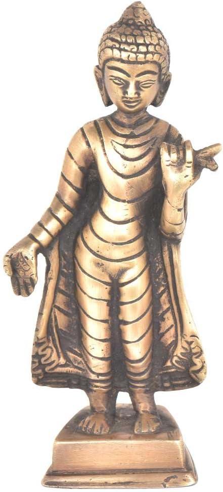 Indian Shelf Handmade Antique Brass Standing Buddha Pack of 1 Statue Statement Pieces Decor Gift Items