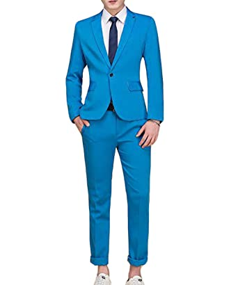 Men\'s Suit Single-Breasted One Button Center Vent 2 Pieces Slim Fit ...