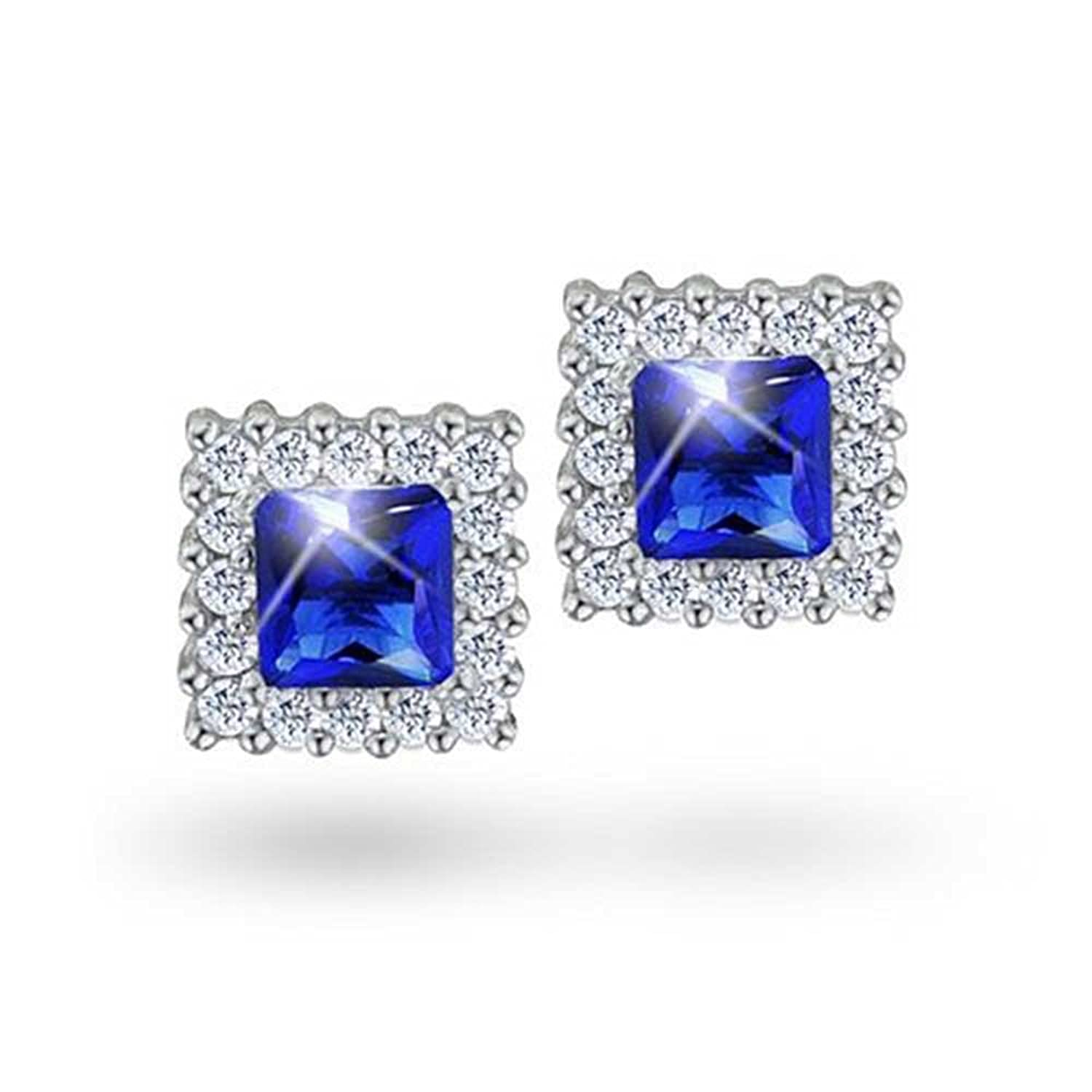 59c0c11f1 Amazon.com: Bling Jewelry Square Princess Cut Simulated September  Birthstone CZ Stud earrings 925 SterlingSilver 8mm: Jewelry