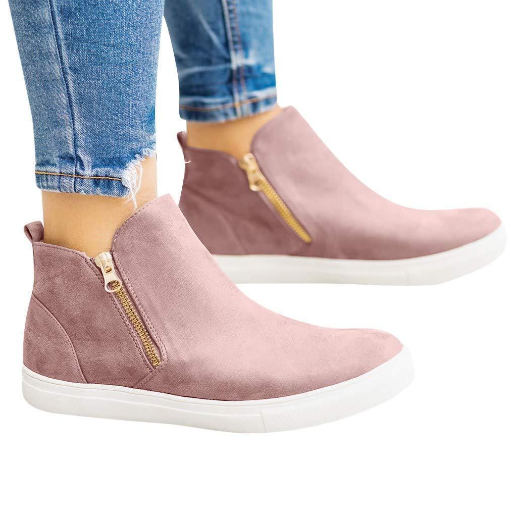 NMERWT Herbst und Winter Damen Boots Frauen Flache beil/äufige Zipper Single Schuhe Plus Size Booties Studenten Laufschuhe