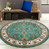 Almadad Wool Blend Round Carpets for Living Room with Traditional Persian Bordered - (6 x 6 Feet, Green and Ivory)