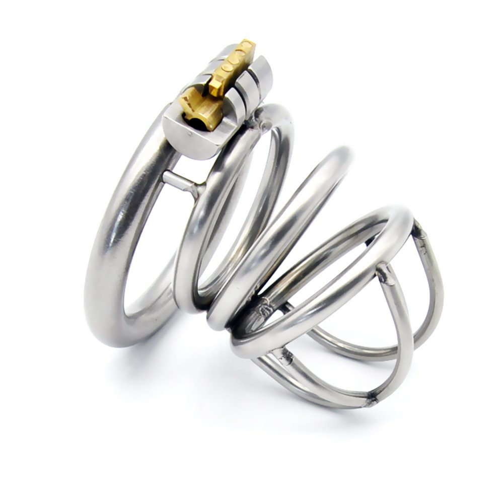 Henshow Metal Male Chasti-ty Device Made of 304 Steel Stainless Briefs Length 52mm with 3 Size Rings Y2-52 by Henshow