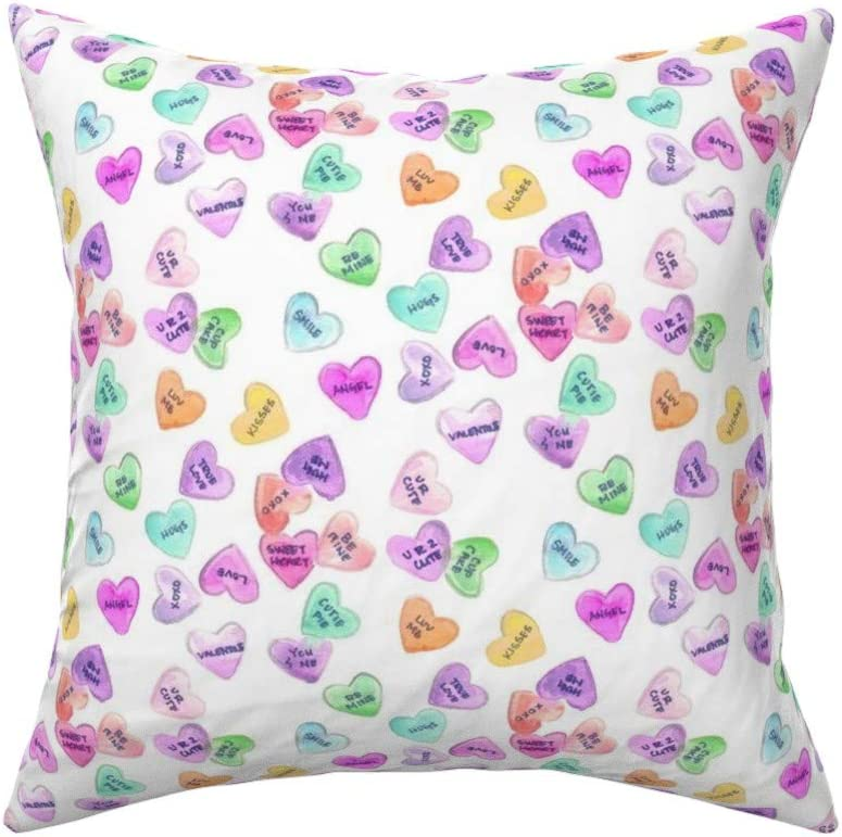 Amazon Com Roostery Throw Pillow Watercolor Valentines Painted Candy Hearts Pastel Be Mine Print Linen Cotton Canvas Knife Edge Accent Pillow 18in X 18in Optional Insert Home Kitchen