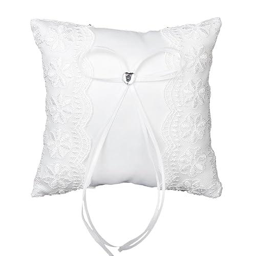 Gleader Almohada De Anillo De Boda Almohada Cojin - Blanco 15cmx15cm