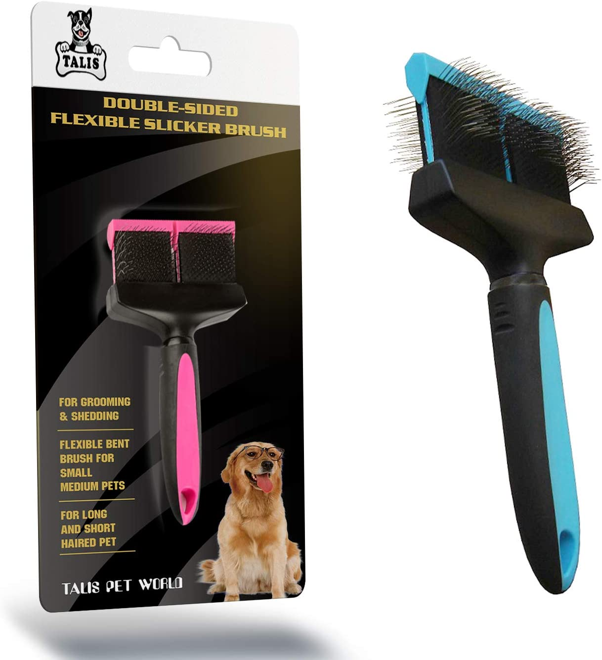 Talis-us LLC Double-Sided Pet Brush for Grooming & Shedding | Double Slicker & Soft Bristle Fine Flexible Bent Brush for Small Medium Cats, Dogs & Other Animals | Long and Short Hair Pet Deshedding
