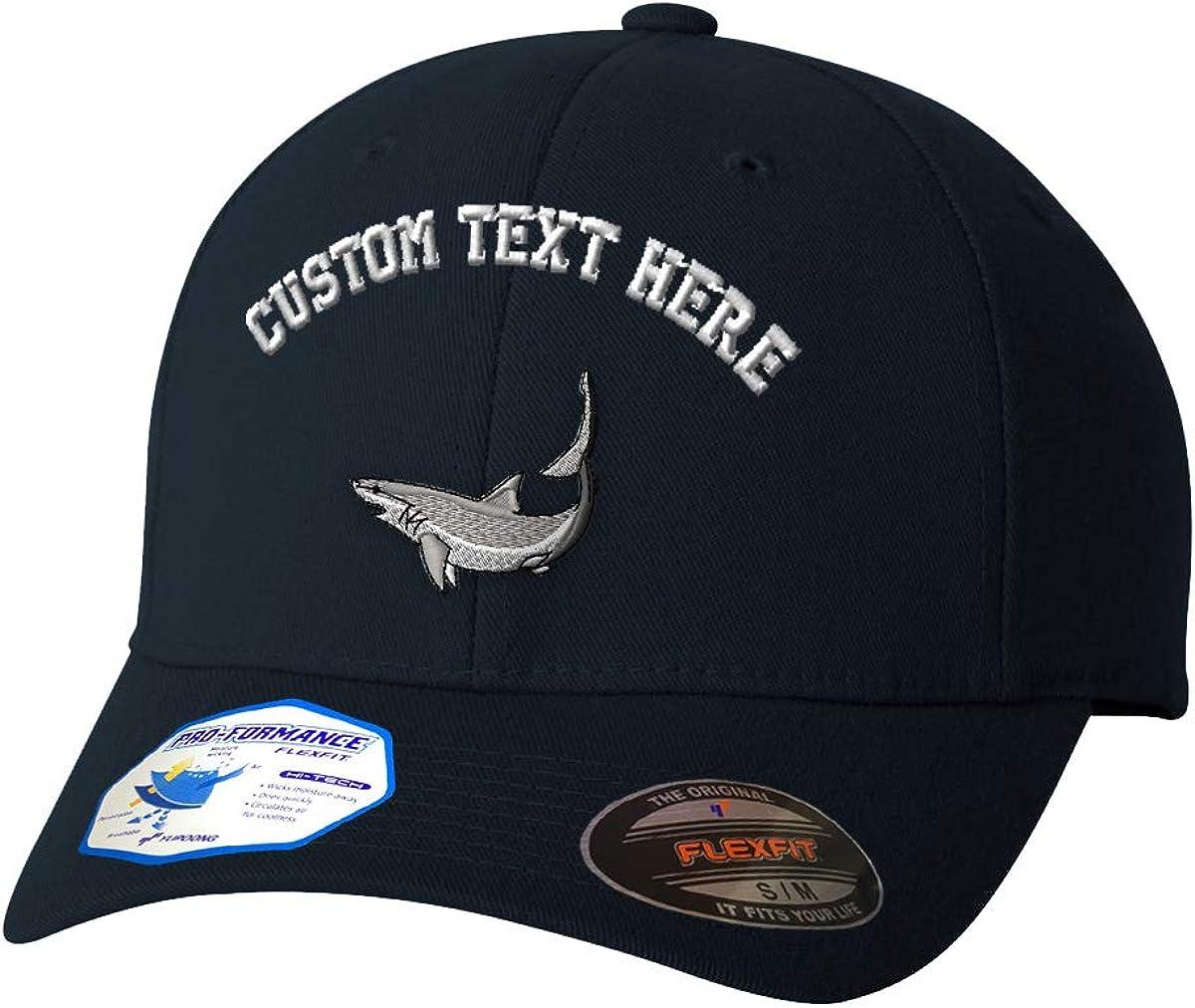 Custom Text Embroidered Mako Shark Style 1 Unisex Adult Elastic Polyester/Spandex Flexfit Pro-Formance Hat Baseball Cap - Dark Navy