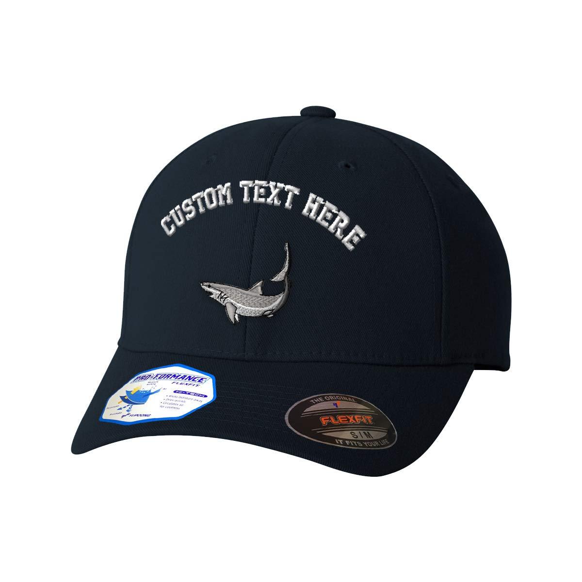 Custom Text Embroidered Mako Shark Style 1 Flexfit Hat Baseball Cap