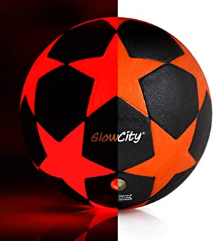 GlowCity LED Star Soccer Ball – Size 5 Glow-in-the-Dark Kick Ball – Uses 2 x Bright LEDs to Light Up a Fun Night Match – Impact Activated