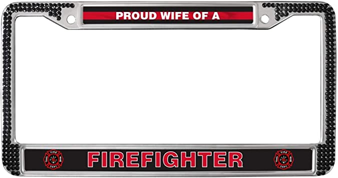 PROUD TO BE A FIREFIGHTERS WIFE FIRE FIGHTER  License Plate Frame
