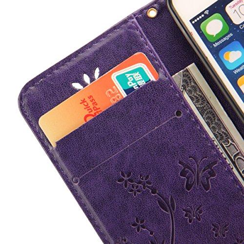 Etsue für Apple iPhone 5/5S Schmetterling Butterfly Schutzhülle Lanyard/Strap Muster Bunte Vintage Painted Magnetverschluss lila PU Leder Hülle Flip Tasche Wallet Case Cover Handyhülle Brieftasche mit