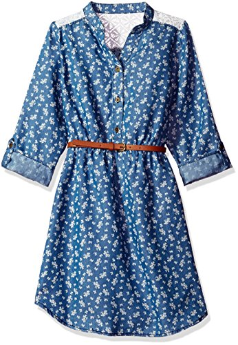 My Michelle Big Girls' Printed Denim Dress with Crochet Yoke and Belt, Medium Wash, 16 (My Michelle Clothes)