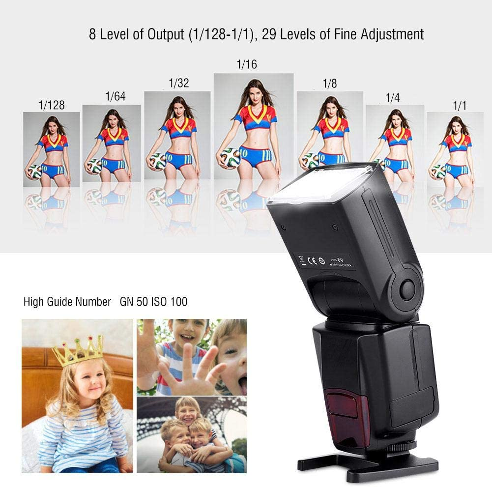 Oumij VBESTLIFE WS-560IV Flash Speedlite with Standard Hot Shoe 2.4G Wireless Slave Flash GN50 5600K with Mini Mount Holder for Canon Nikon Sony A7// A7 II// A7S