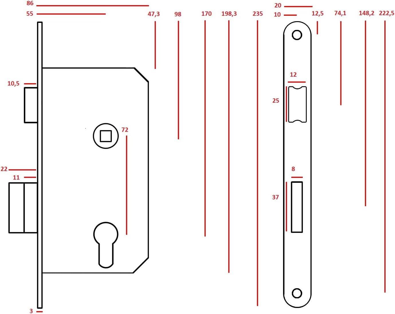 KOTARBAU/® Serrure /à mortaiser 72//55 mm DIN droite pour porte de toilette porte de salle de bain avec contre-plaque en acier de qualit/é sup/érieure