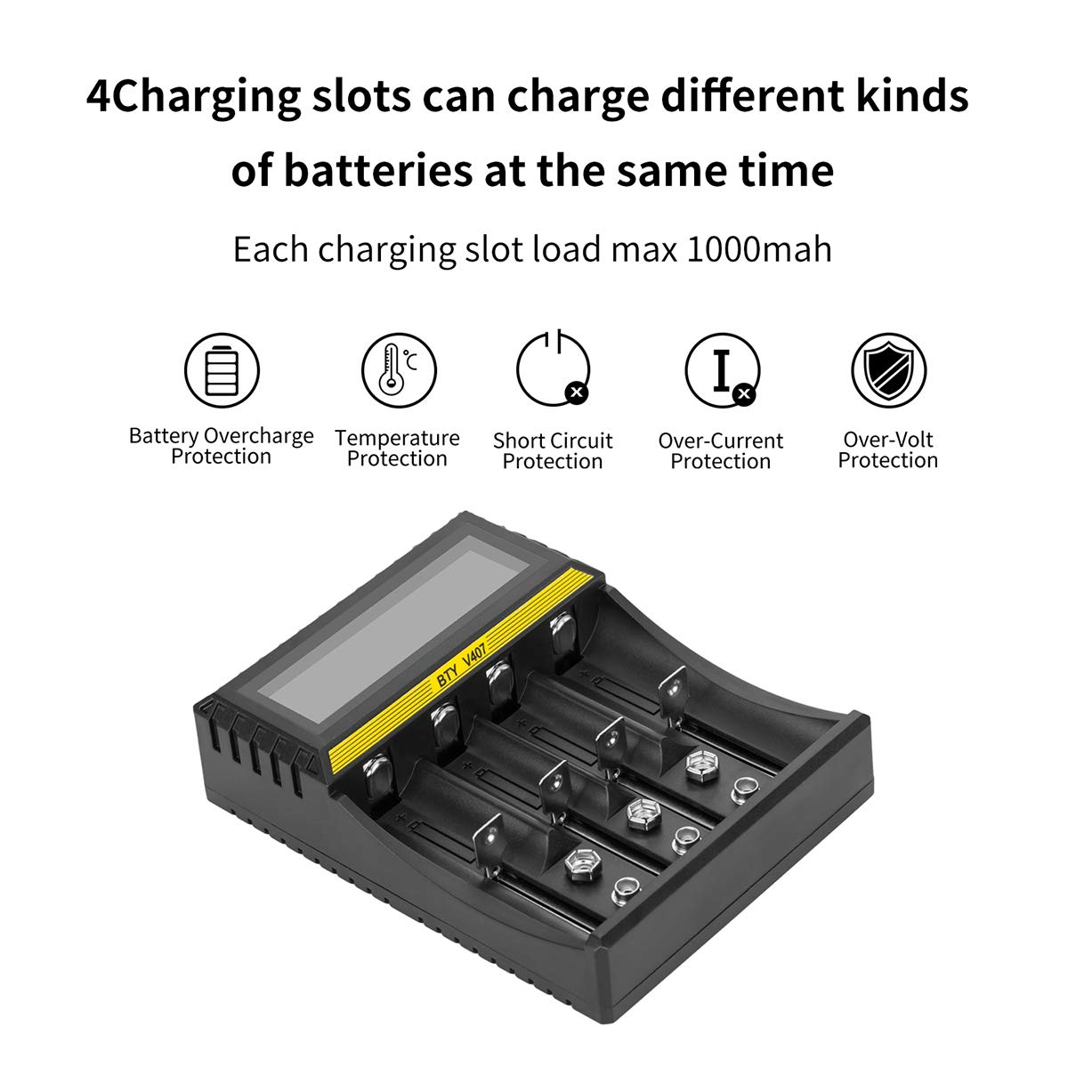 Amazon.com: Battery Charger 18650 LCD S4 Smart 9V Charger for Rechargeable Batteries Ni-MH Ni-Cd 6F22 A AA AAA Li-ion 18650 26650 26500 22650 18490 17670 ...