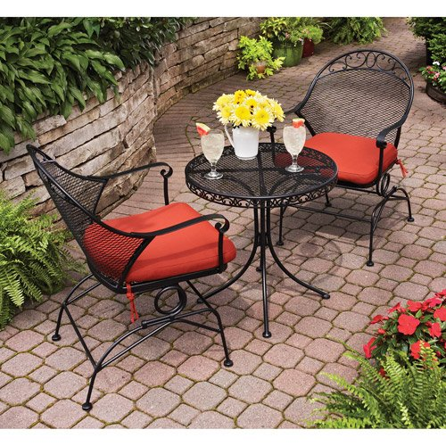 Clayton Court 3-Piece Motion Outdoor Bistro Set, Red, Seats 2 (Sets Bistro Clearance)