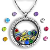 Teacher Gifts For Women - Teacher Jewelry | Floating Charm Necklace Filled With Teacher Charms | Teacher Graduation Gift Teacher Necklace | 30mm Charm Locket | Teacher Gift Teacher Charm Necklace