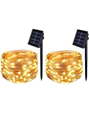 [2 Pack] BOLWEO Solar Powered String Lights,Solar Fairy Lights,Warm White,16.4Ft 50LEDS,Waterproof Wire Lighting for Indoor Outdoor Christmas Tree Halloween Home Garden Decoration