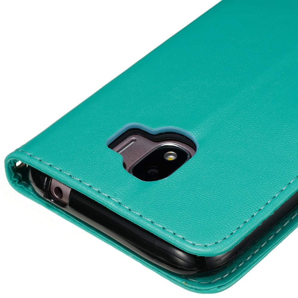 YYX Galaxy J2 Pro 2018 Housse Etui Luxe Flip Portefeuille Premium PU Cuir Etui Magn/étique Retro PU Cuir Housse de Protection 3D Marquage /à Chaud Mod/èle /Étui en Cuir Ultra Mince TPU Silicone Back Coque Samsung Galaxy J2 Pro 2018